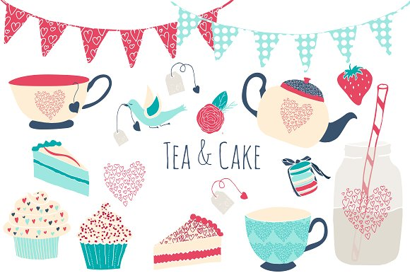 Cake clipart turquoise And Clipart Tea Illustrations and