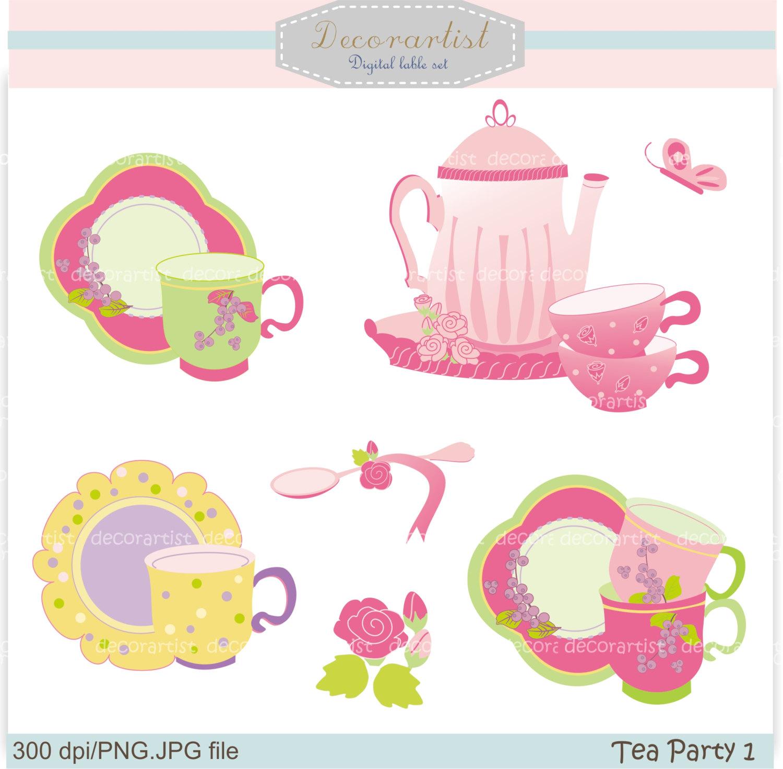 Pink clipart tea party Tea Party Clip Art Party