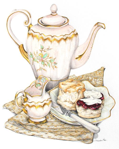 Tea Party clipart tea scone Strawberry Scones Cream and Strawberry
