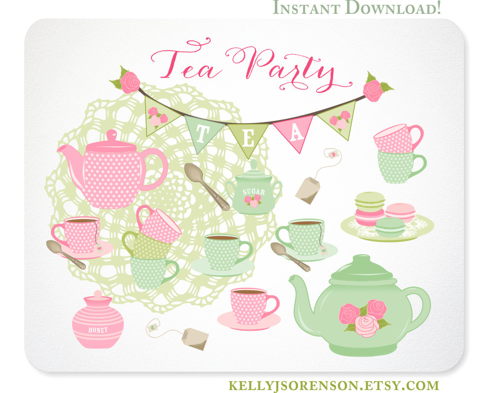 Tea Party clipart tea set Bunting Download Set Shabby Party