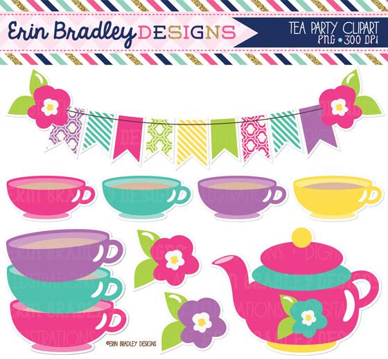 Tea Party clipart tea set Bradley paper teacups chevron clipart