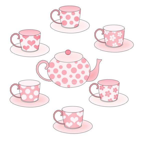 Pink clipart tea party Set Clipart Tea Tea Clipart