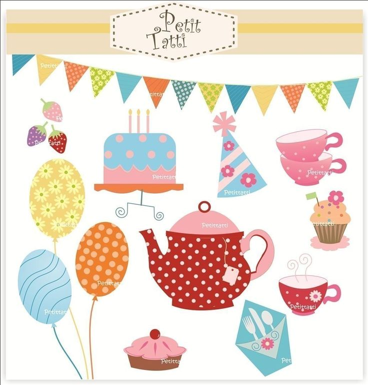 Kettle clipart tea cake Use clip girl party Digital