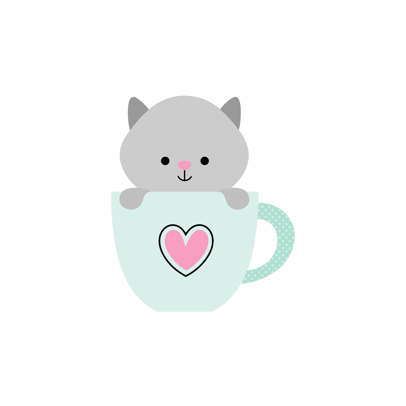 Teacup clipart kitty SVG Cut  Silhouette Files: