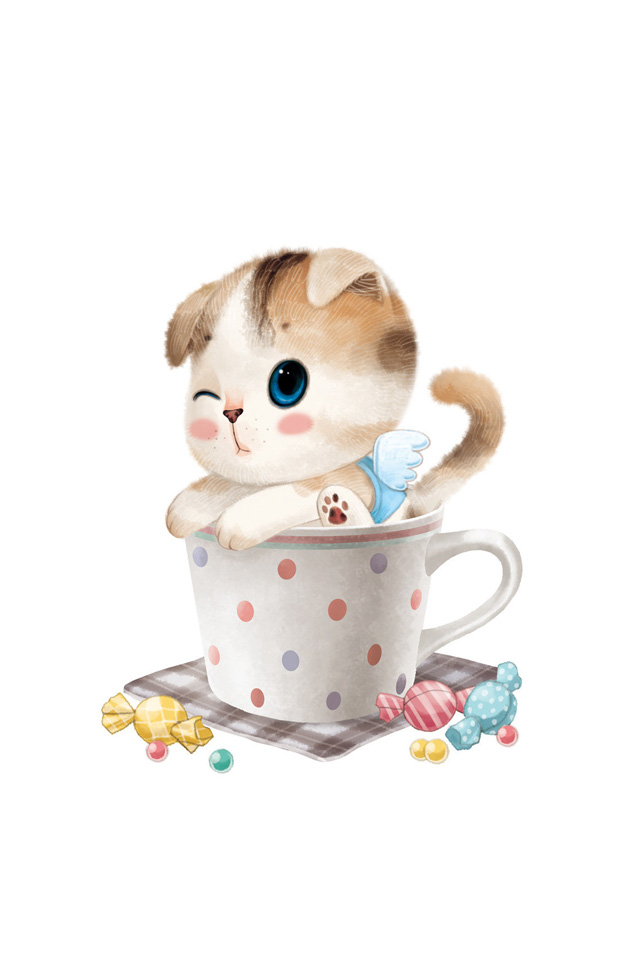 Teacup clipart kitty ANGEL KITTEN  CUP BACKGROUND