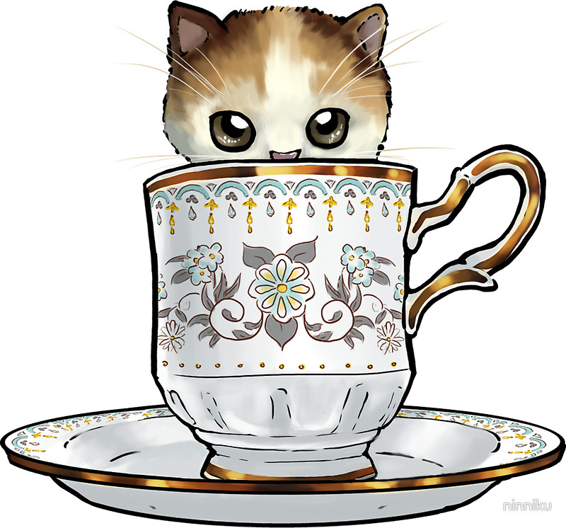 Teacup clipart kitty Floral Kitten in Cup Cup
