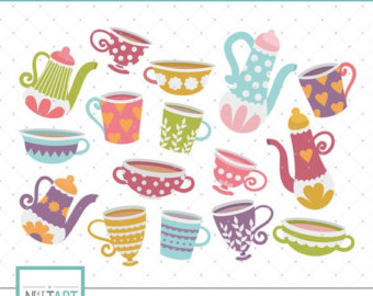 Teacup clipart poetry cafe Colorful Etsy cup clip Teapot