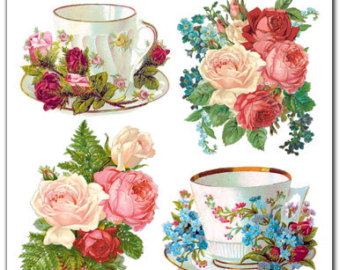 Teacup clipart rose For Etsy paper Stickers Red