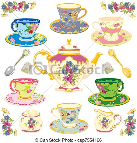 Teacup clipart tea set Teacups Vector Victorian set Vector