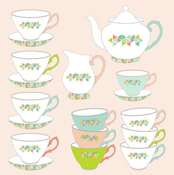 Teacup clipart tea set Best Geometric Teacup images and