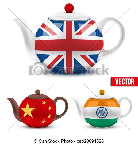 Teapot clipart british Flag teapot of Vector Set