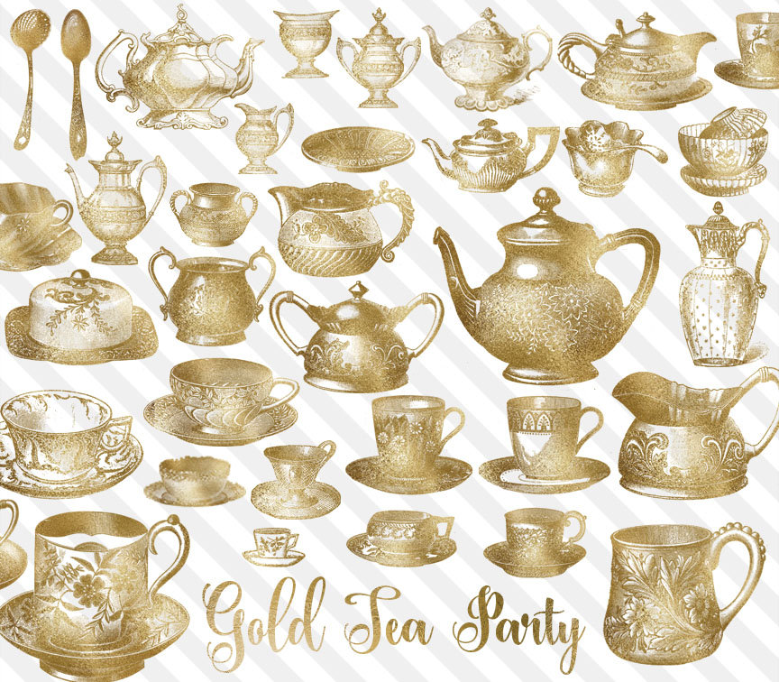 Teapot clipart gold Tea Party Clipart antique Gold