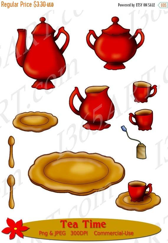 Teapot clipart gold Set Clipart Party Red