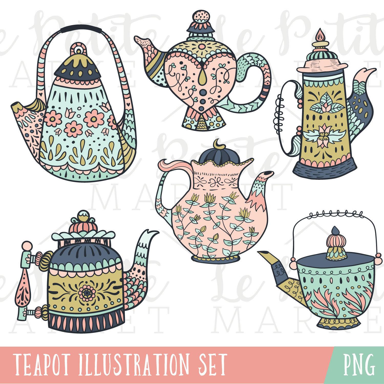 Teapot clipart gold Art Art Blush  Mint