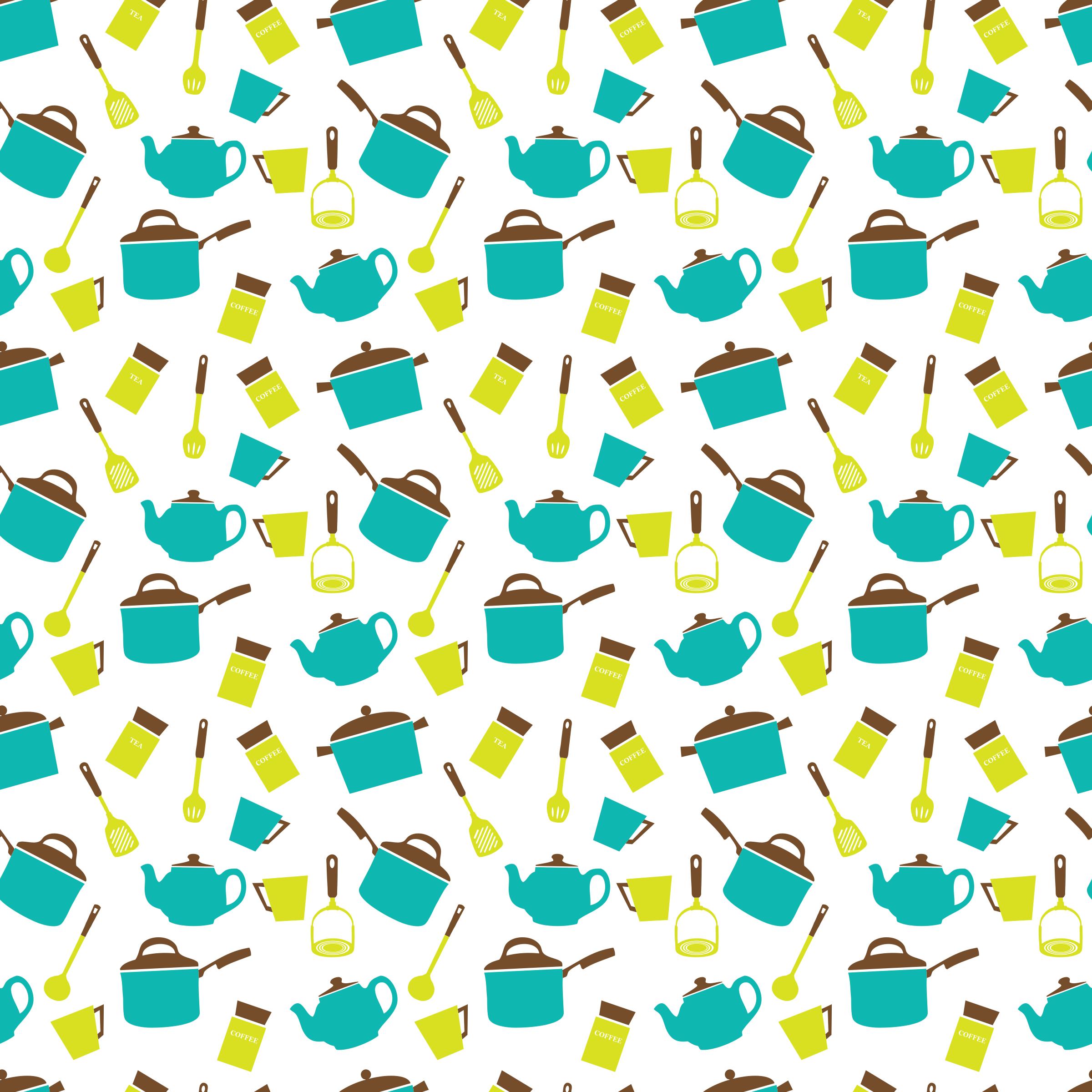 Teapot clipart kitchen utensil Seamless pattern Utensils seamless Crockery