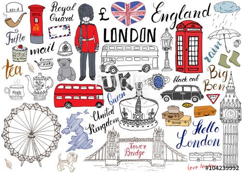 Teapot clipart london  doodles bridge drawn city