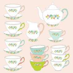 Teapot clipart teacup stack Digital and use clip art