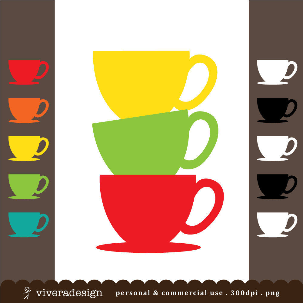 Teapot clipart teacup stack File and  digital Teacup