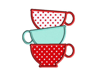 Teapot clipart teacup stack Applique Etsy Embroidery INSTANT Machine