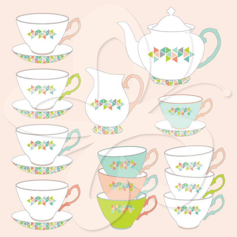 Teapot clipart teacup stack Collection Art Set Teapot Set