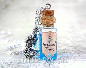 Tears clipart liquid Mermaid Bottle Blue Necklace Vial
