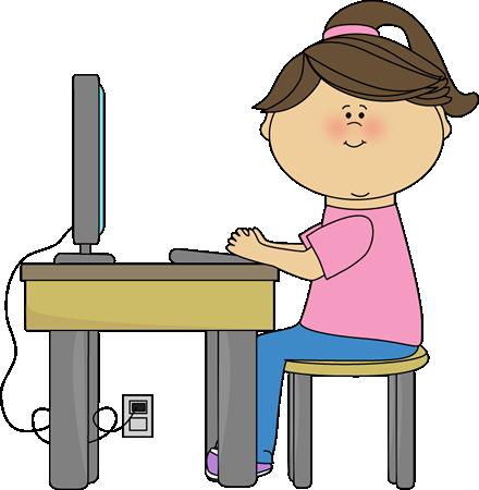 Desk clipart computer Girl School Computer Pinterest Girl