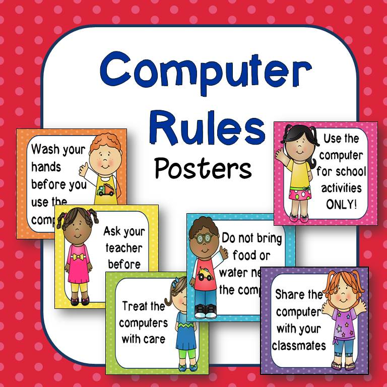 Technology clipart computer lab Computer  (Happy rules Kids)