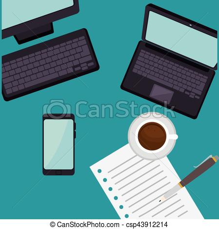 Technology clipart office equipment Clip vector office office Vector