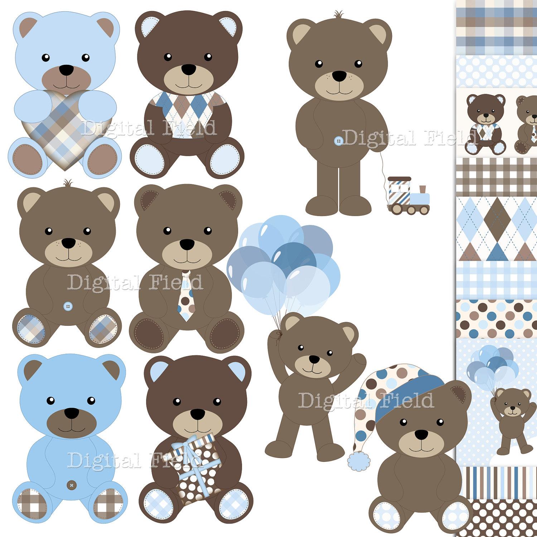 Paw clipart baby bear Clipart azul digital de osito