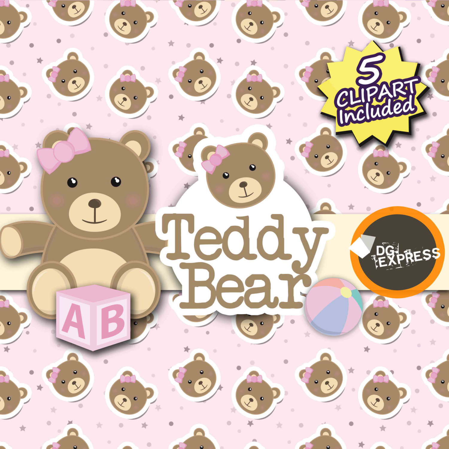 Teddy clipart bea Clipart BEAR Pink : Paper