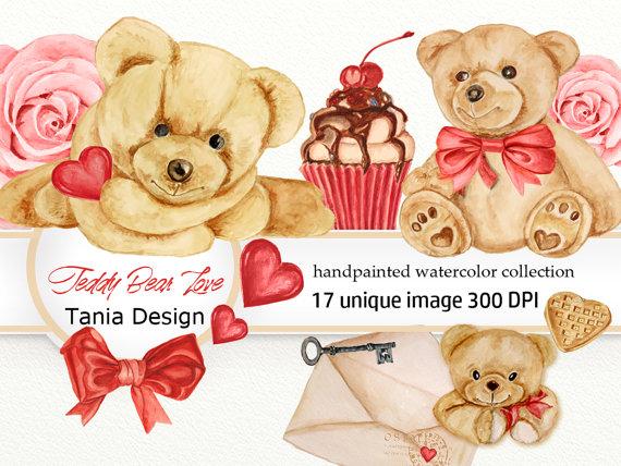 Teddy clipart beat Love clipart Bear Watercolor Watercolor