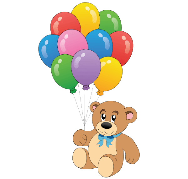 Teddy clipart birthday Free art Cute Balloons with