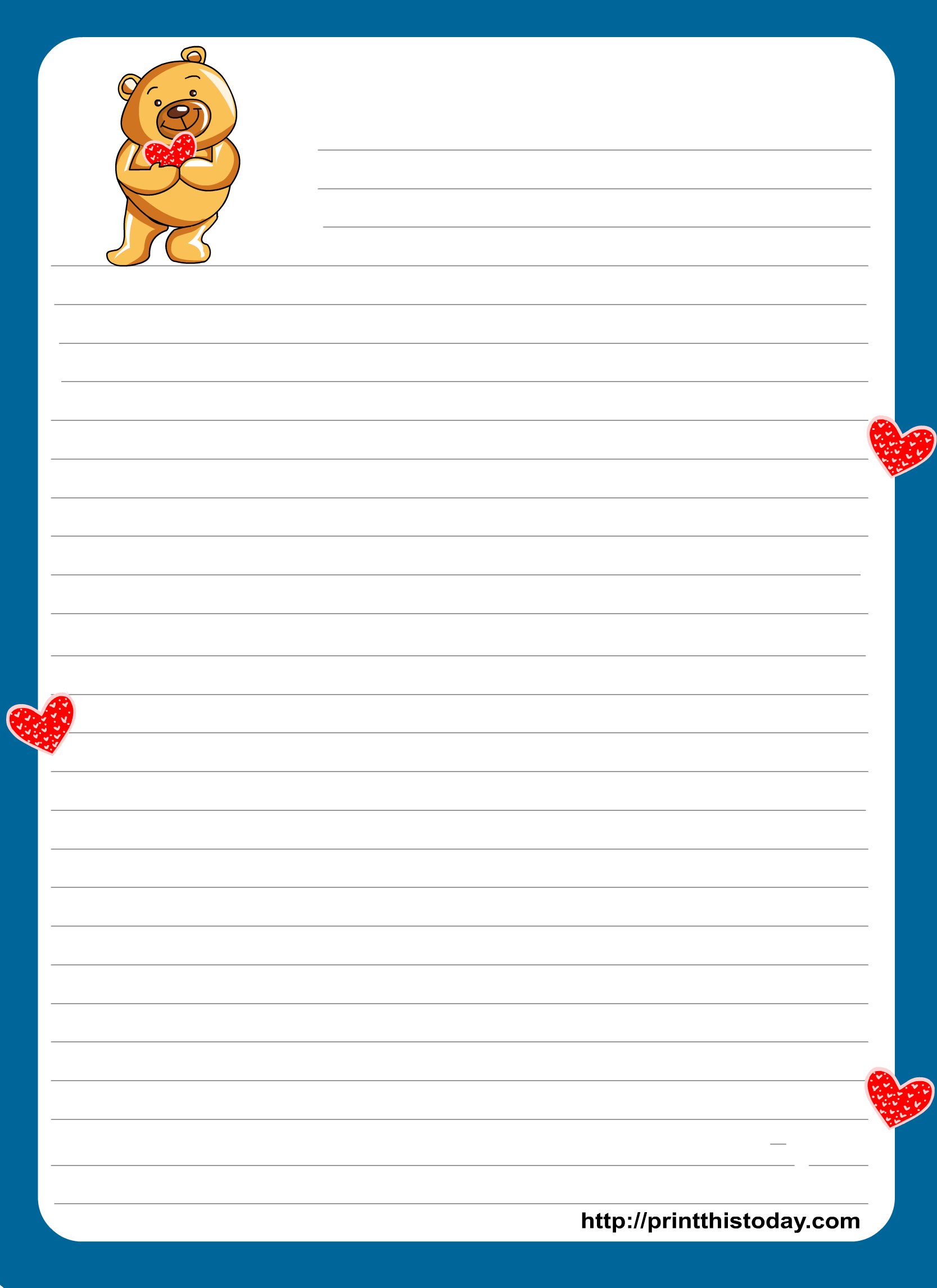 Teddy clipart border Cute paper border writing for
