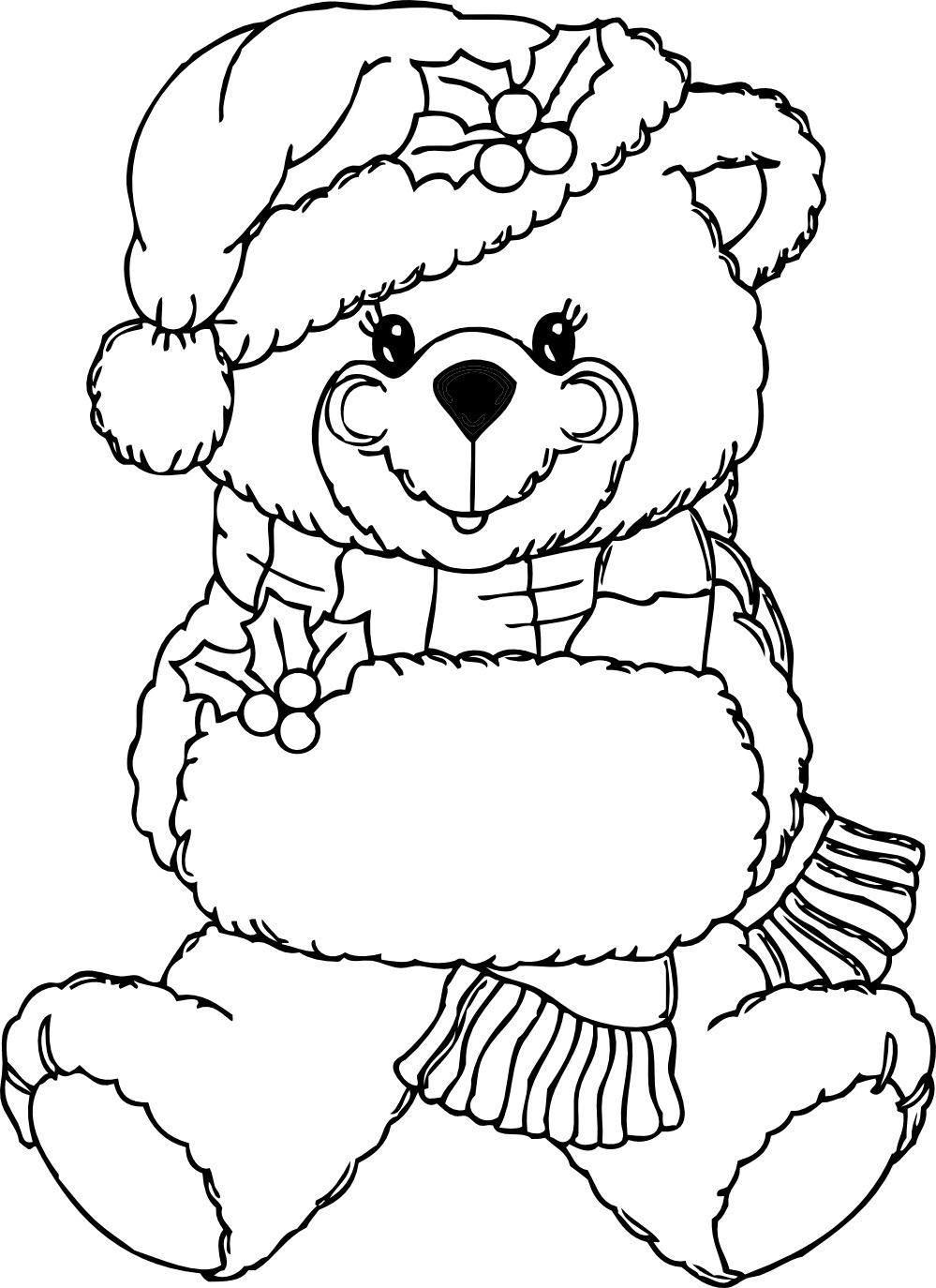 Teddy clipart coloring #9