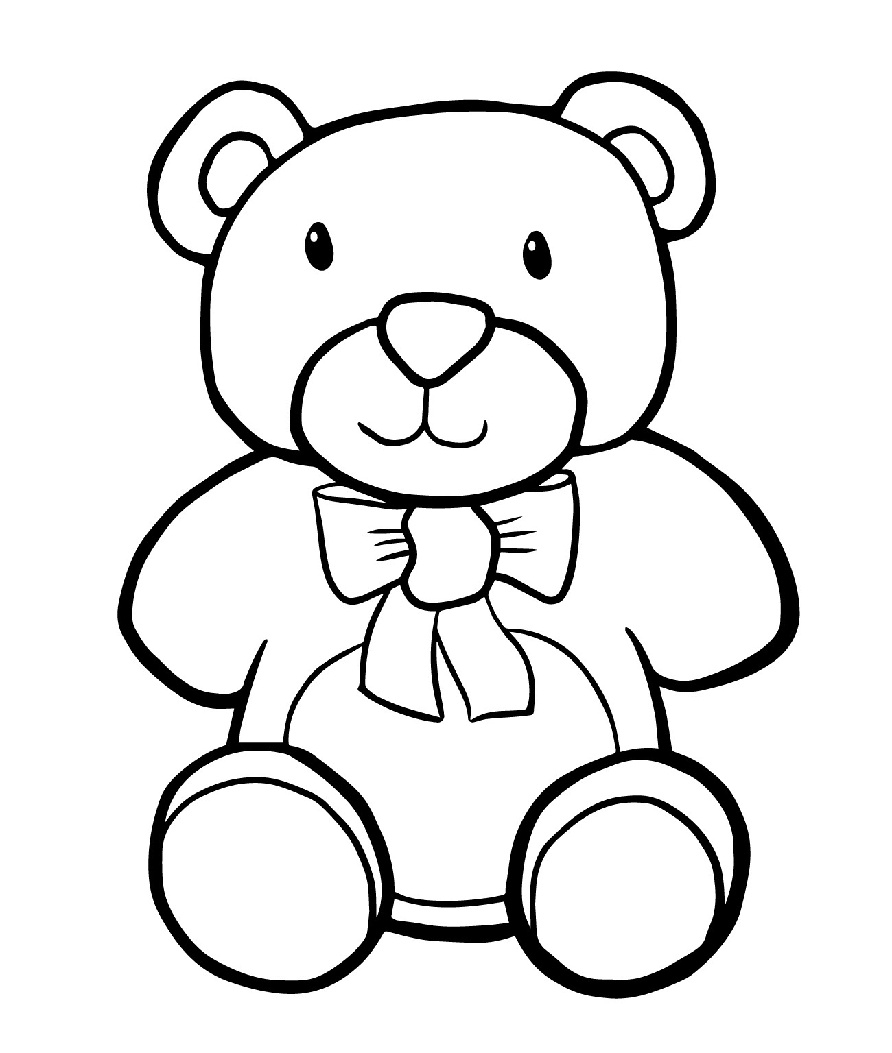 Teddy clipart coloring #2