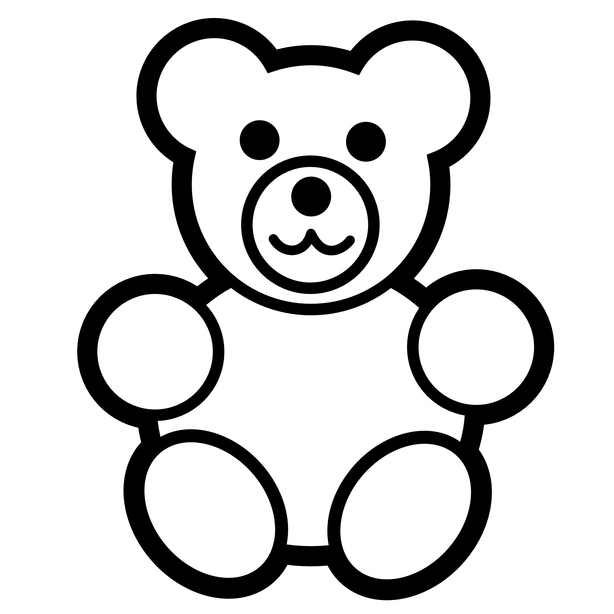 Teddy clipart coloring #3