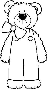 Teddy clipart coloring page #6