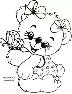 Teddy clipart coloring page #7