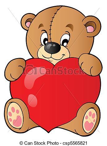 Teddy clipart cute heart Art teddy heart csp5565821 vector