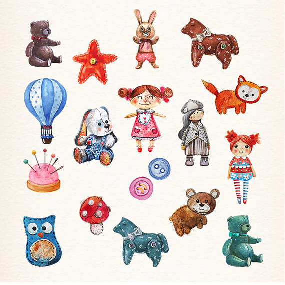 Teddy clipart doll Toys Doll Teddy from Watercolor