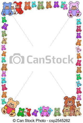 Teddy clipart frame Vector border bears  of