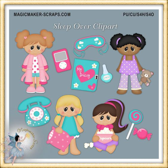 Teddy clipart pajama party #15
