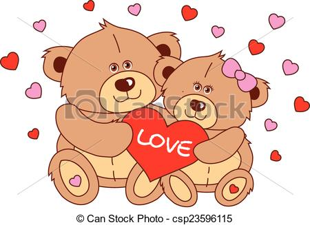 Teddy clipart two Characters heart teddy heart Vector