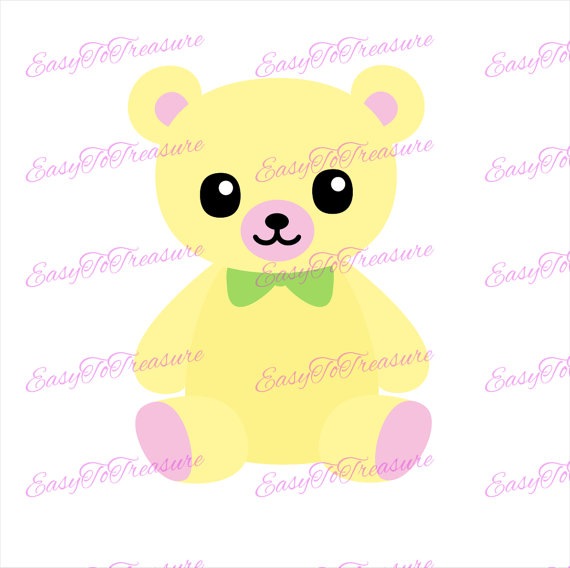 Teddy clipart yellow baby Digital – JPEG Yellow Digital