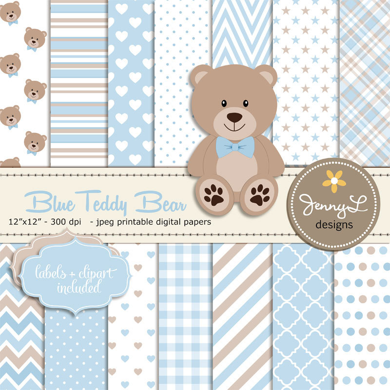 Teddy clipart yellow baby  Blue Blue Teddy papers