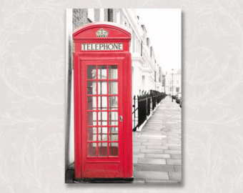 Telephone Booth clipart england map Phone Canvas Phone England Etsy
