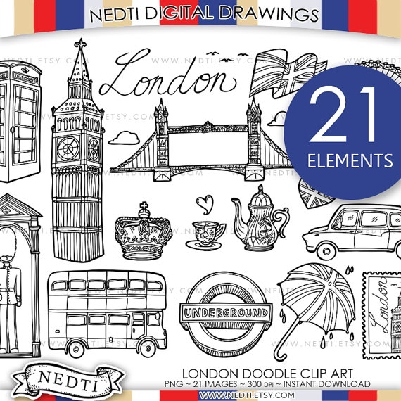 Telephone Booth clipart england map Doodle Telephone Instant Art Clipart