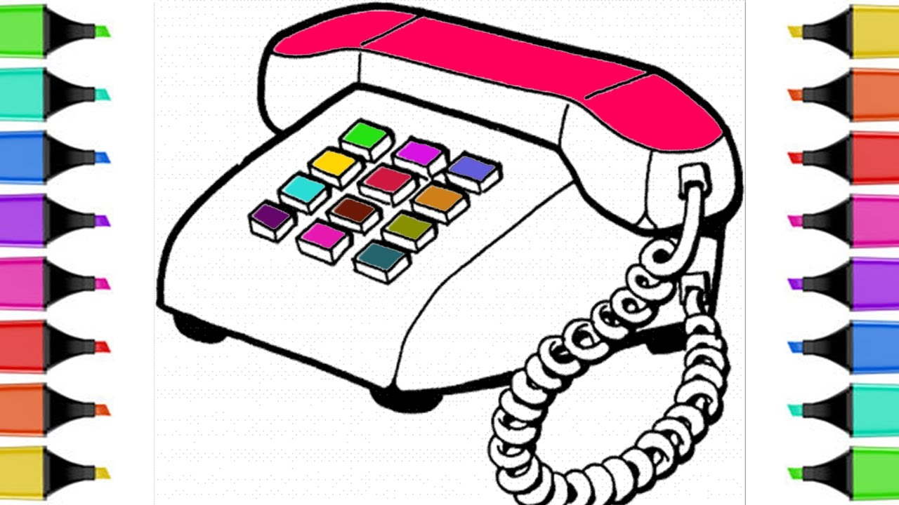 Telephone clipart colorful Telephone Telephone  Book Coloring