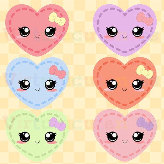 Telephone clipart heart Clip Pastel Kawaii Hearts Clipart