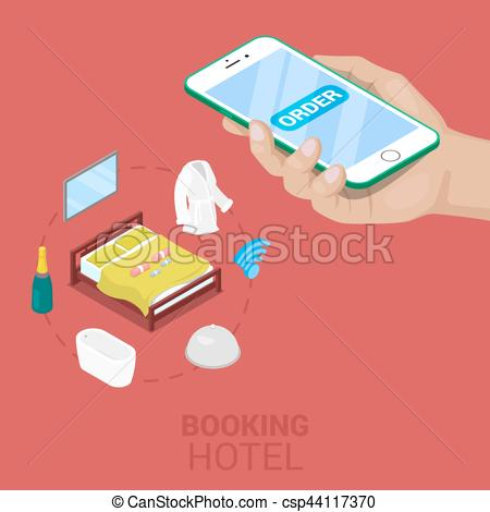 Telephone clipart hotel reservation Illustration Hotel  Concept Isometric